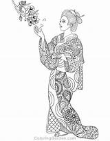 Coloring Geisha Pages Adult Printable Pdf Coloringgarden Drawings Ausmalbilder Books Doodle Format Geishas sketch template