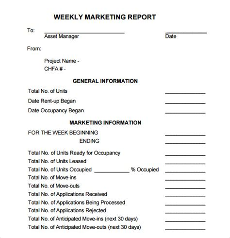 sample marketing report template   documents