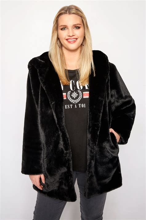Black Hooded Faux Fur Jacket Plus Size 16 To 36