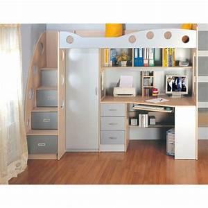 Lit Combiné Bureau : lit combin multifonction enfant jim lit mezzanine ~ Premium-room.com Idées de Décoration