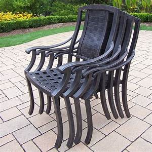 Oakland, Living, Vanguard, Stacking, Patio, Dining, Chairs, With, Cushion