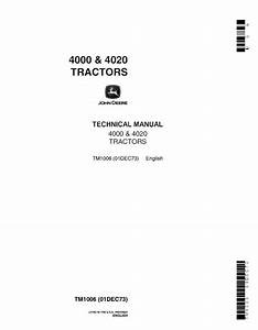 John Deere 4000  U0026 4020 Tractors Tm1006 Technical Manual