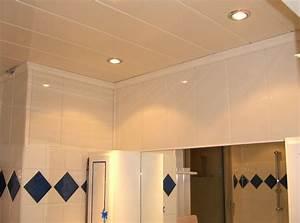 plafond en lambris de pvc prix moyen et technique de pose With plafond pour salle de bain