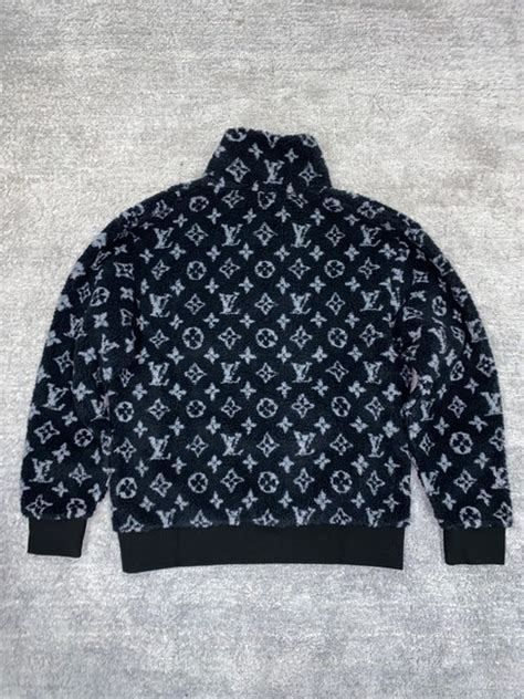 louis vuitton black mens monogram jacquard fleece zip  grey logo xxlarge jacket size