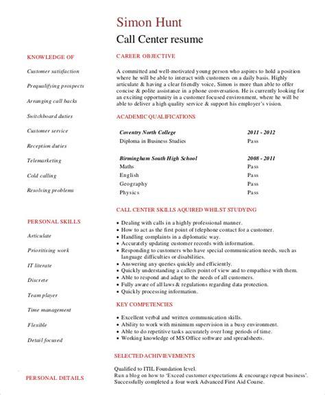 call center resume    word  documents   premium templates