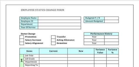 employee status change forms word excel fomats
