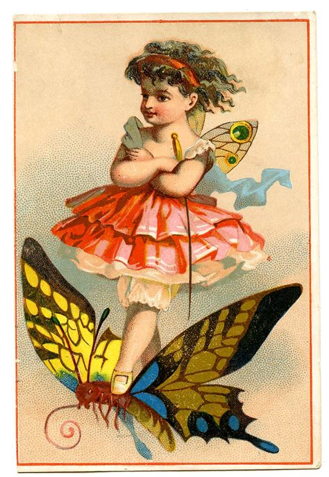 Vintage Image Cute Little Fairy On Butterfly The