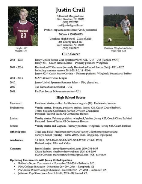 Free Resume Tem by College Soccer Player Resume Soccer Soccer Coaching