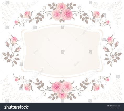 Vintage Floral Frame Pink Roses Isolated Stock Vector