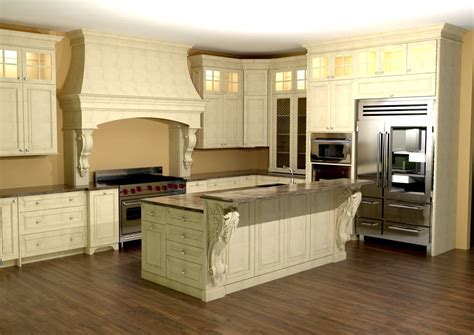 Large kitchen with custom hood. Features large Enkeboll