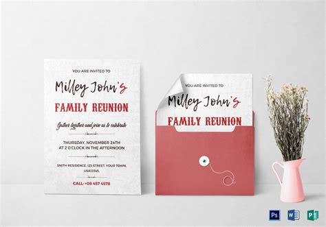 family reunion invitation card design template  word