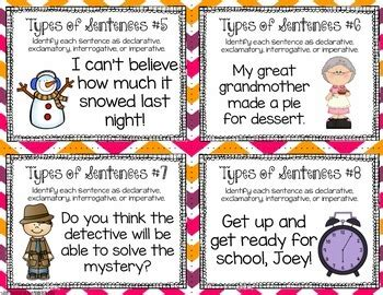 Four Types Of Sentences Task Cards By Teaching With A Mountain View