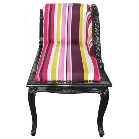 louis xv chaise longue multicolor striped fabric and black