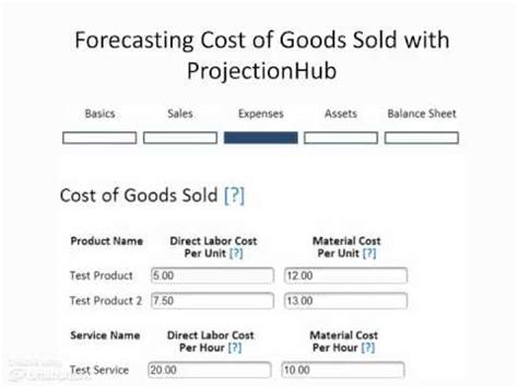 how to forecast cost of goods sold projectionhub youtube