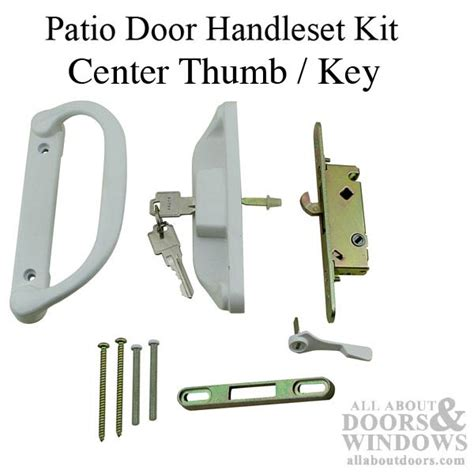 patio door keyed handle set mortise lock keeper white