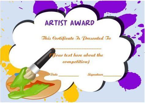 artist   year certificate template art certificate