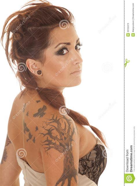 woman tattoos dress profile  side stock  image