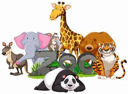 Zoo Animals Wild Sign Vector Around Clipart