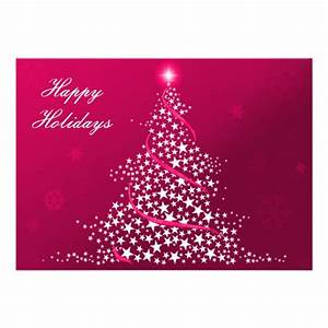 Pink business holiday flat cards custom invite zazzle for Custom business holiday cards