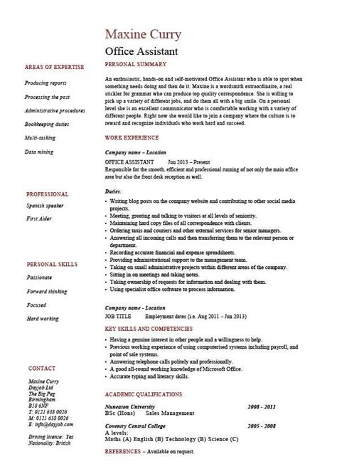 Chronological Resume Office Assistant by Office Assistant Resume Administration Exle Sle
