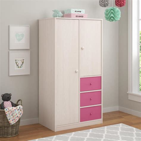 Cosco Applegate Armoire With 3 Pink Fabric Bins In