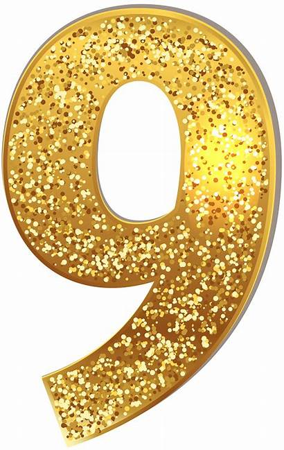 Number Numbers Gold Clip Clipart Nine Glitter