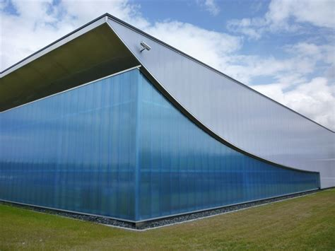 facade glazed with polycarbonate panels by rodeca gmbh polycarbonate transparent glazing