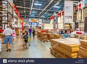 Customers Inside Warehouse Part Of IKEA Home Store Stock
