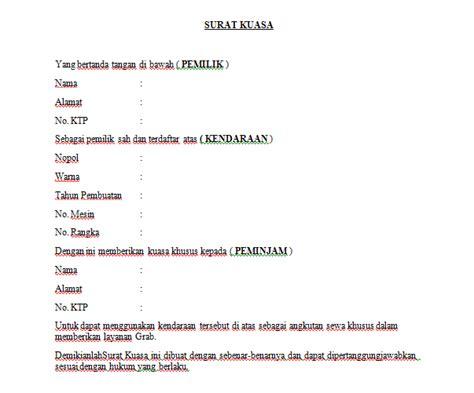 Contohsuratindonesia.com kali ini memberikan contoh surat. Contoh Surat Kuasa Mengambil Kendaraan - Download Kumpulan Gambar