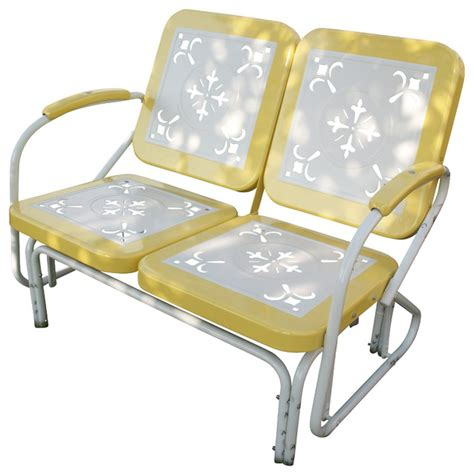 4d concepts metal retro patio glider loveseat yellow
