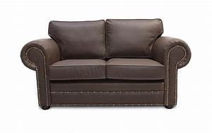 Mayo vintage leather sofa large round studded arms comfy for Leather sectional sofa the dump