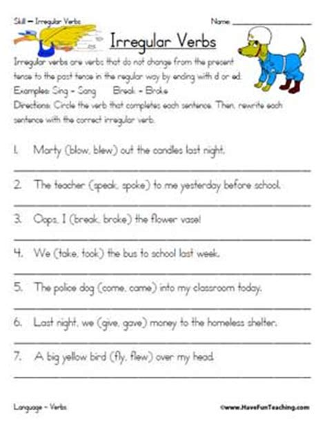 regular and irregular verbs worksheet with answers pdf