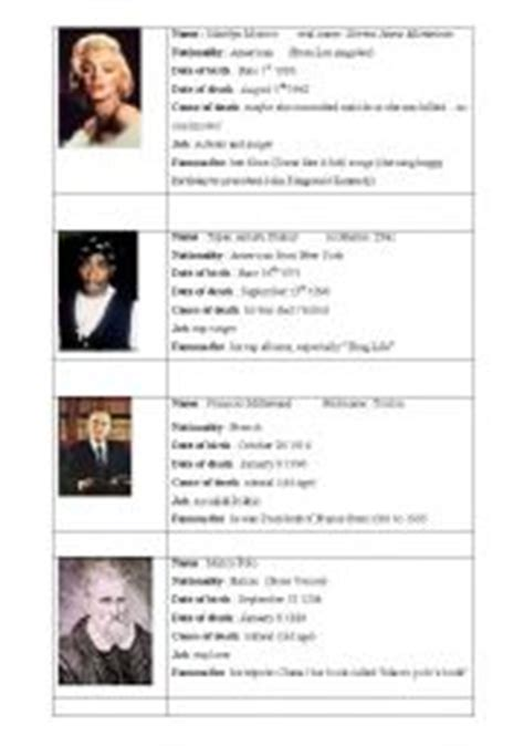 biography cards esl worksheet by elainev