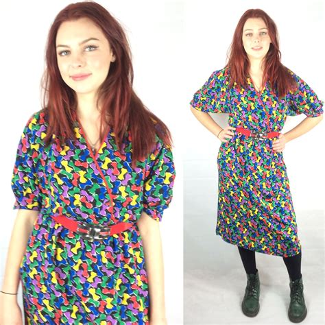 vintage psychedelic bow dress  austin reed   retruly