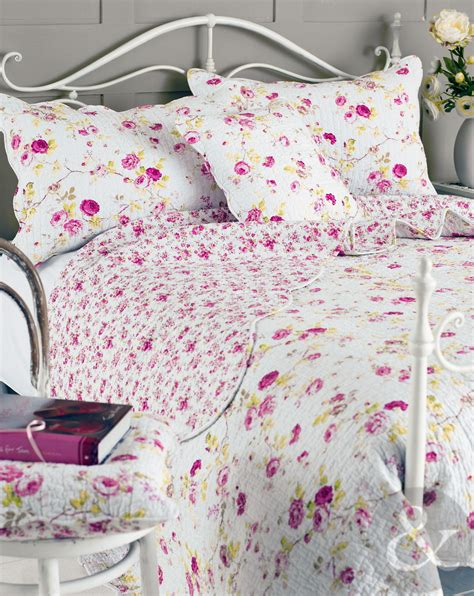 shabby chic bed throws floral vintage cotton bedspread luxury shabby chic quilted reversible bed throw ebay
