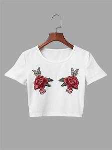 White Knit Floral Rose Embroidered Crop Top - Us 15 95