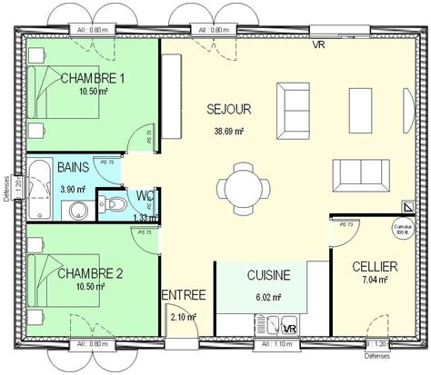 plan de maison plain pied 2 chambres et garage construction 86 fr gt plan maison plain pied traditionnel