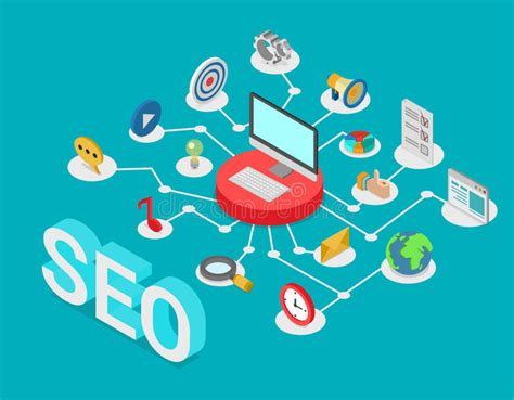 seo technology seo search engine optimization flat 3d isometric vector