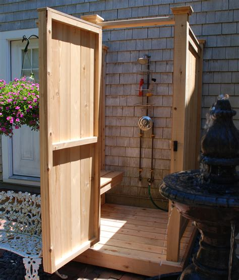 shower bench for cedar outdoor showers cape cod shower kits