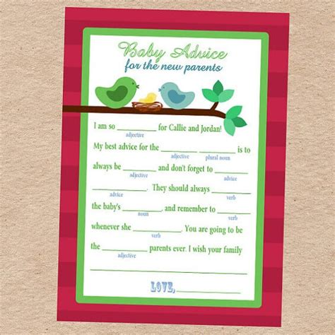 Baby Shower Mad Libs Game  Baby Shower Ideas