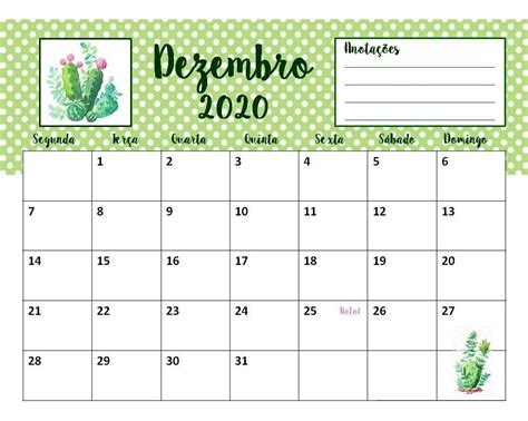 calendario planner cactos feriados agenda mes mes