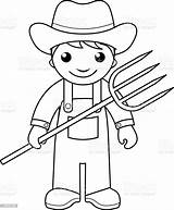 Farmer Coloring Pages Vector Farm Community Outline Printable Helpers Sheets Pitchfork Drawing Colouring Farmers Preschool Illustration Activity Agriculture Helper Animals sketch template