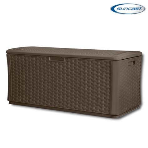 Suncast Resin Wicker Deck Box by Suncast Bmdb13400 Plastic Wicker Deck Box