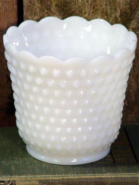 milk glass fire king milk hobnail milk glass vase vintage white wedding