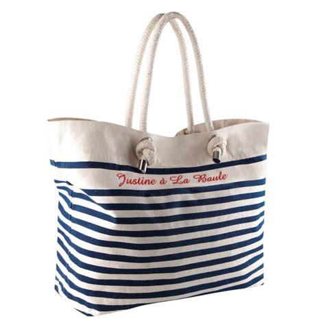 deco fait chambre bebe sac de plage marinière brodé d un prénom amikado