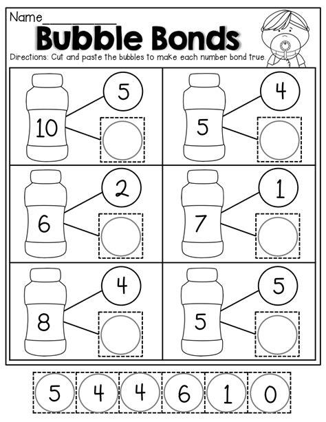 number bonds cut and paste kindergarten