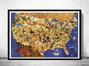 Vintage Map Of United States America Its Folklore