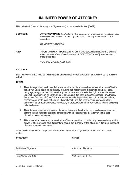 unlimited power  attorney template sample form