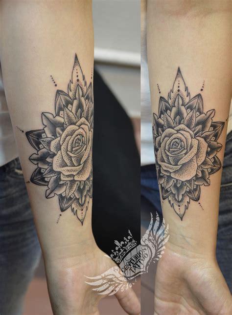 mandala dotwork rose tattoo tattoo centuriontattoo