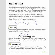 Light And Reflection  Worksheets, Reflection And Lights